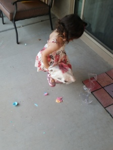 My daughter's first confetti egg experience