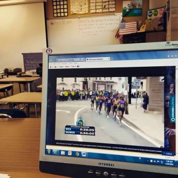 When the kids are away, the teacher will play..er...watch the Boston Marathon. Same thing ;)
