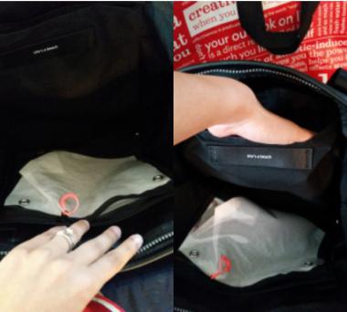Left: Inside clear plastic zip case; Right: Inside pocket