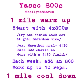 Between each 800, jog for the same amount it took you to complete a repeat. I like to jog/walk a 400.