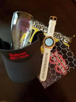 Swag: Arm sleeves, visor, and finisher's cup