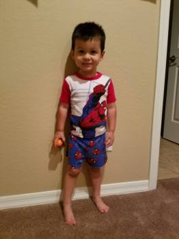 Spiderman pajamas to lift his spirits <3