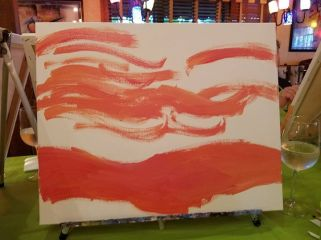 One of my friends said it looked like a bacon painting :D