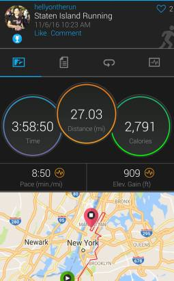 Garmin stats from NYC Marathon. 8:50 average...five seconds from goal pace.